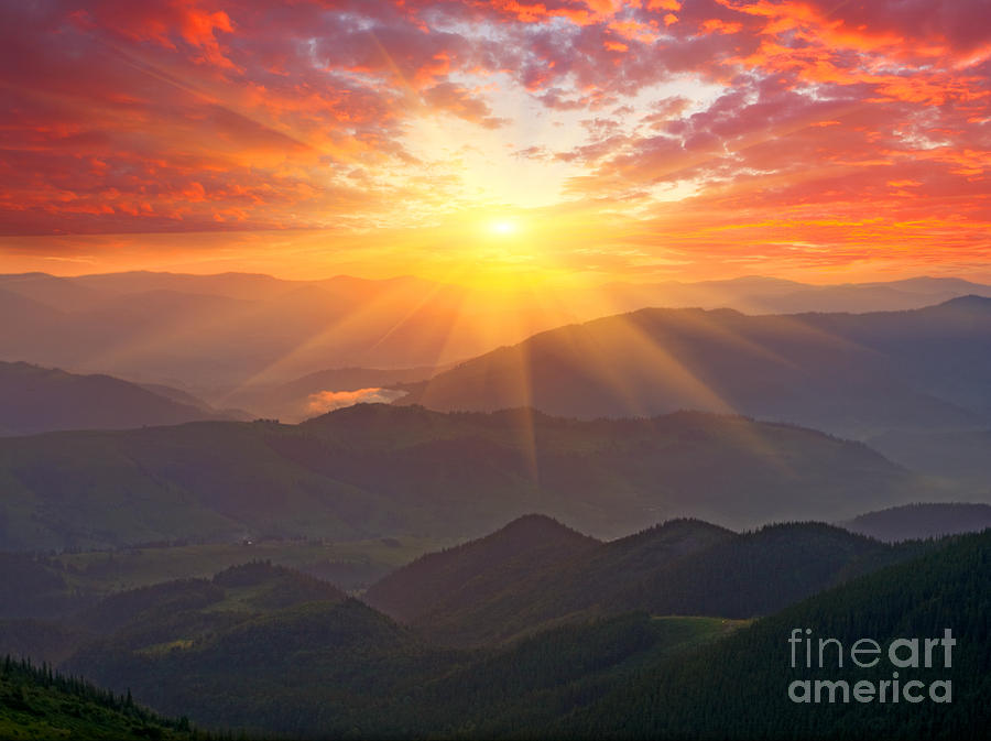 Beam Photograph - Nice Sunset Scene In Mountains by Pavel klimenko