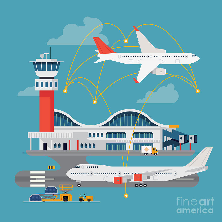 Plane Digital Art - Nice Vector Concept Layout On Airport by Mascha Tace