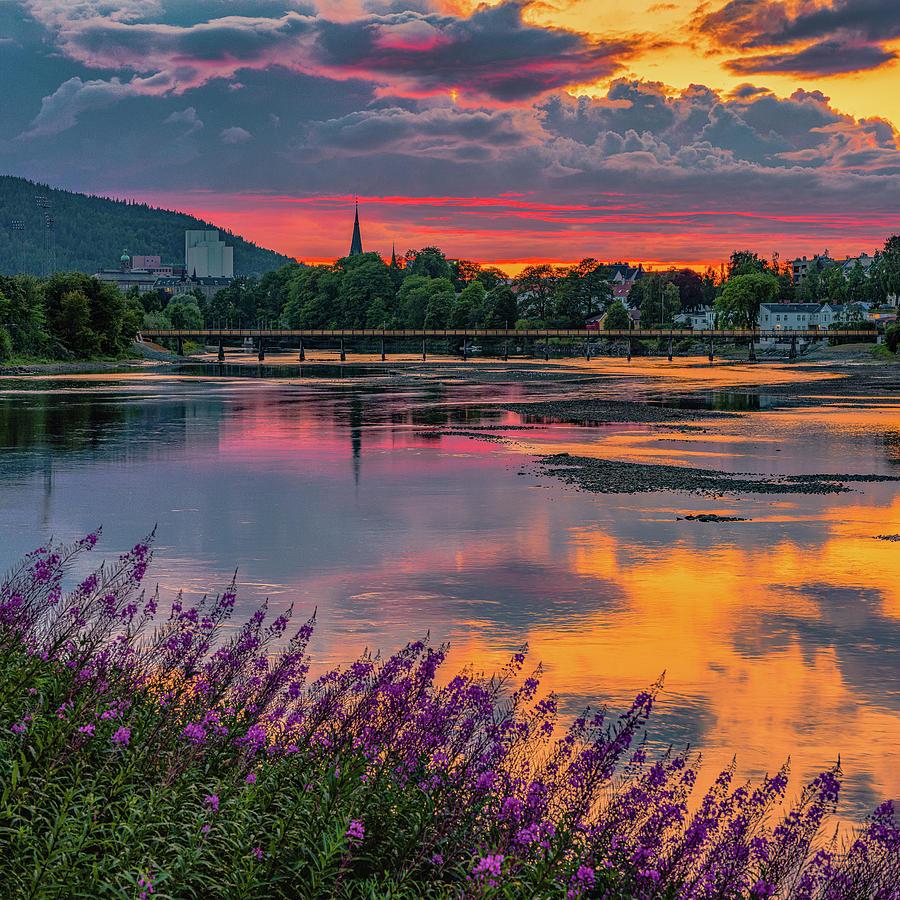 Nidelva, Gangbrua and Ilen Kirke in a Beautiful August Sunset  by Aziz Nasuti
