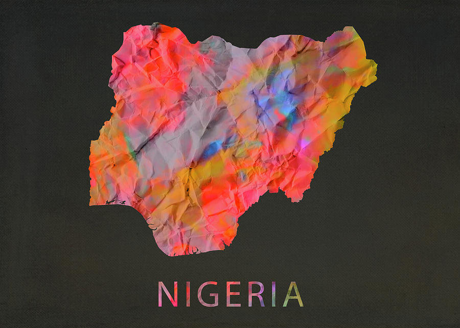 Nigeria Mixed Media - Nigeria Tie Dye Country Map by Design Turnpike
