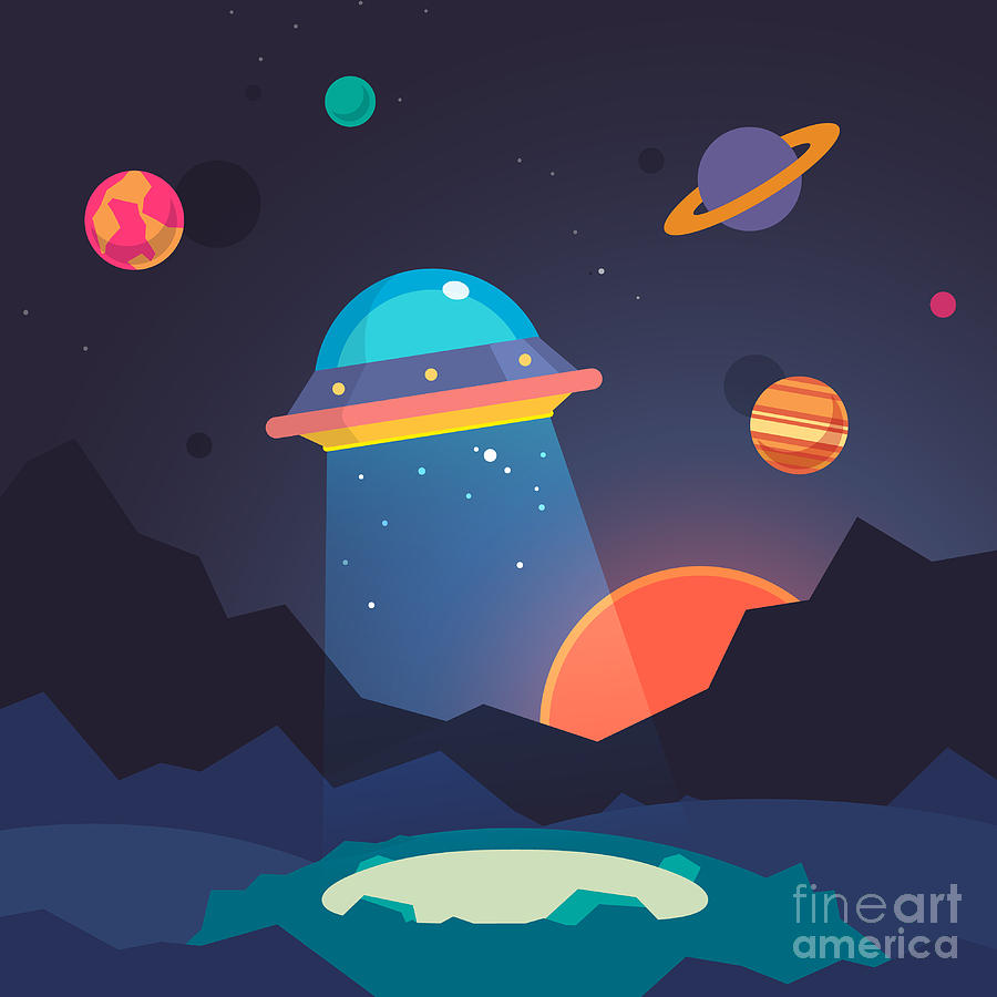 Beam Digital Art - Night Alien World Landscape And Ufo by Iconic Bestiary