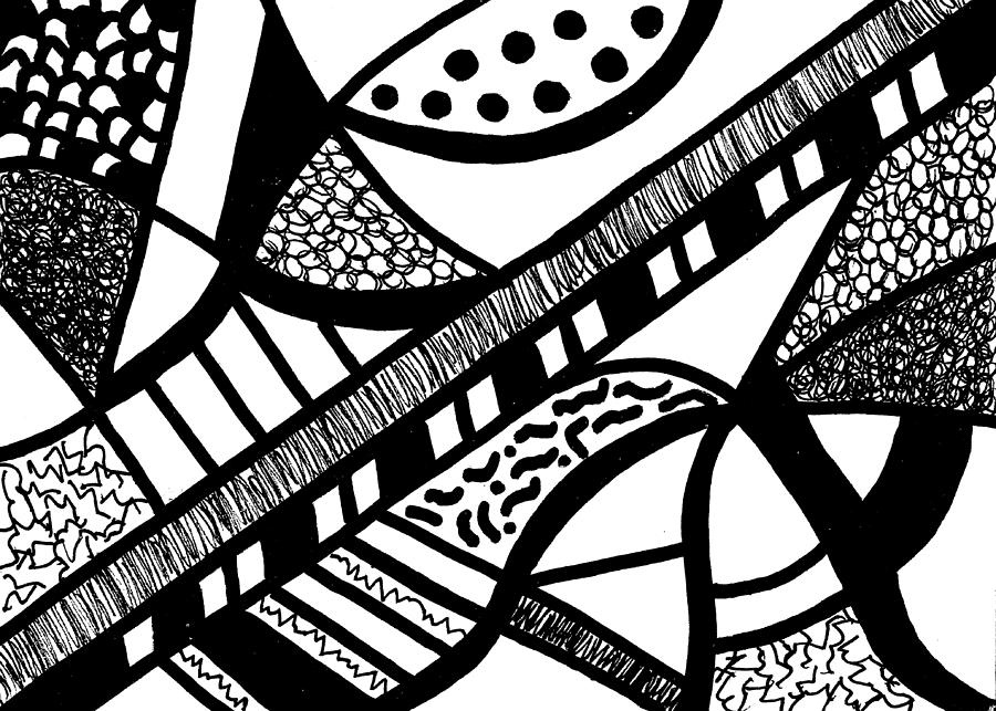 Abstract Design Drawing - Night And Day 18 by Susan Schanerman
