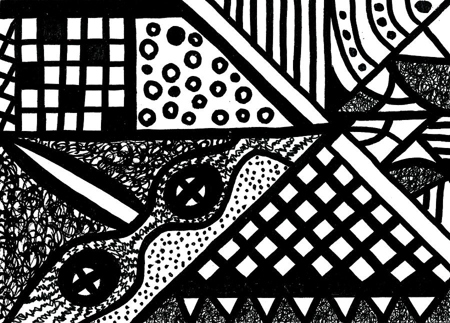 Abstract Design Drawing - Night And Day 5 by Susan Schanerman