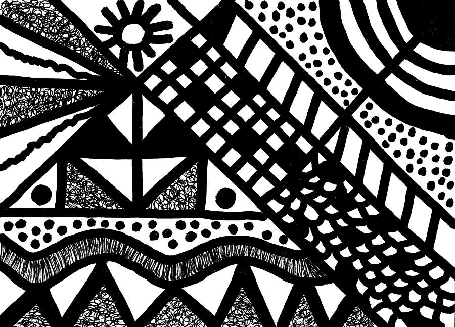Black & White Drawing - Night And Day 7 by Susan Schanerman