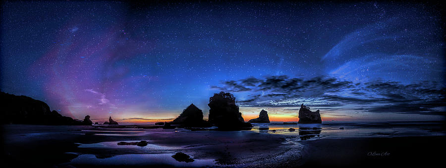 Night at Motukiekie Beach Pano In Greymouth West Coast New Zealand By OLena Art by OLena Art