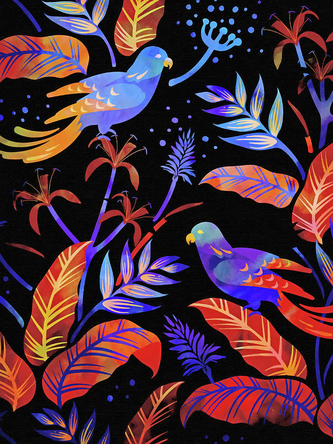 Night Birds Painting - Night Birds by Lutz Baar