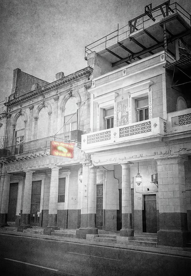 Night Illumination Havana Cuba BW by Joan Carroll