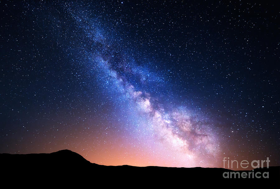 Nocturnal Photograph - Night Landscape With Colorful Milky Way by Denis Belitsky