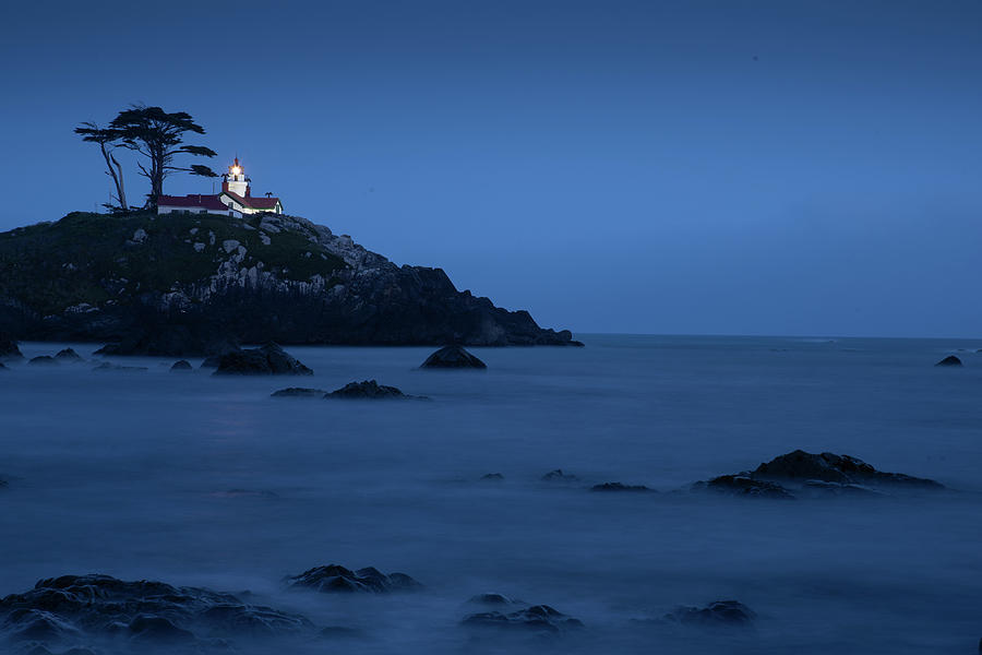 Night Lighthouse In Northern California by Phyllis Spoor