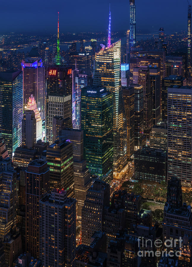 Night Lights New York City Times Square From Above by Mike Reid