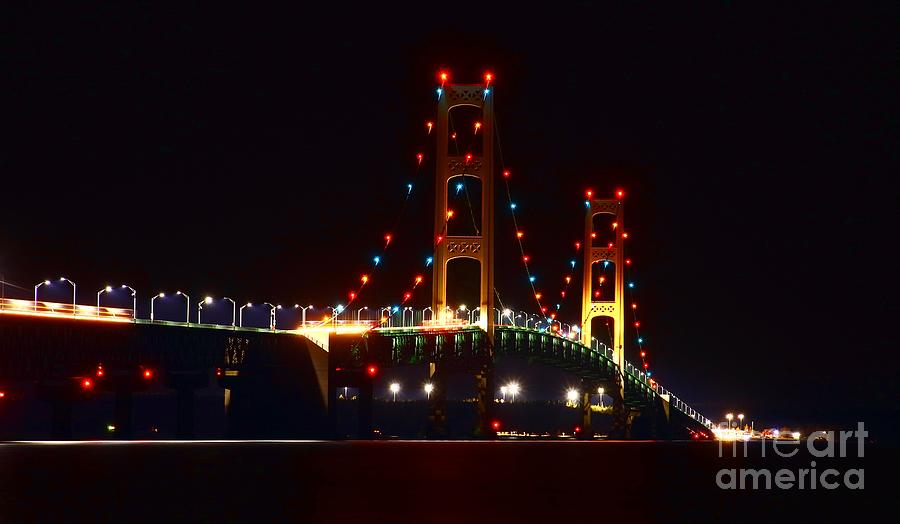 Night Photography Photograph - Night Lights Of The Mackinac Bridge by Tony Lee