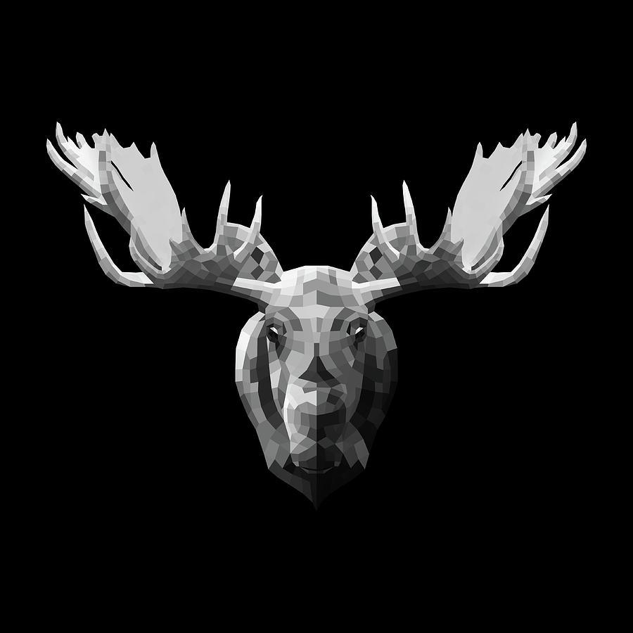 Moose Digital Art - Night Moose by Naxart Studio