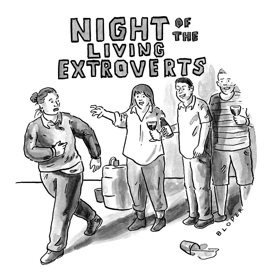 Night of the Living Extroverts Drawing by Brendan Loper