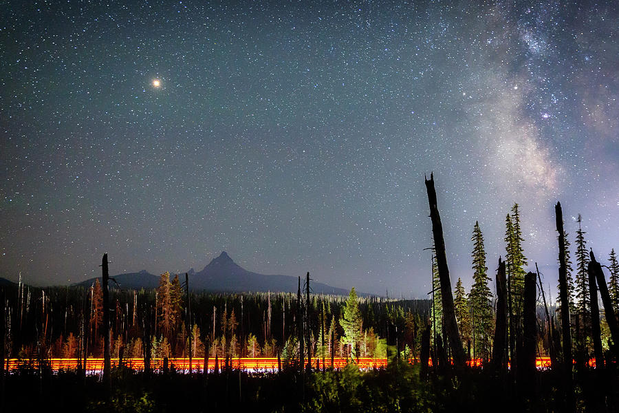 Night Photograph - Night On Santiam Pass by Cat Connor