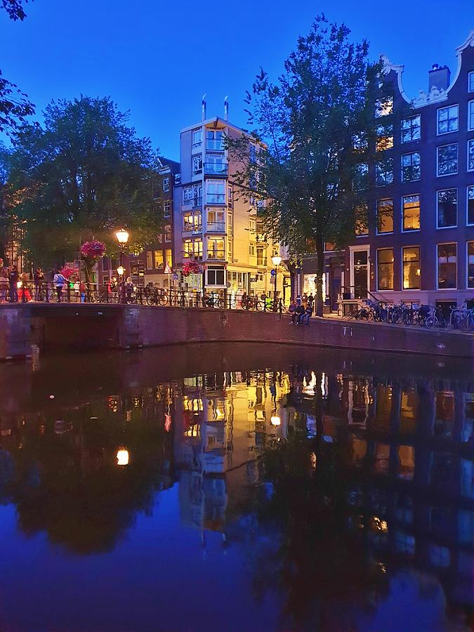 Night Reflections in Amsterdam by Andrea Whitaker
