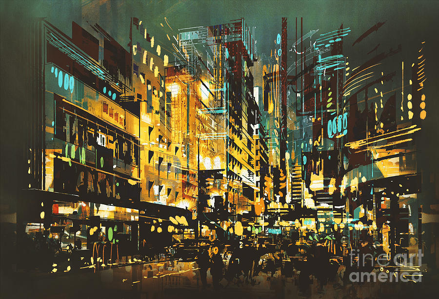 Color Digital Art - Night Scene Cityscape,abstract Art by Tithi Luadthong