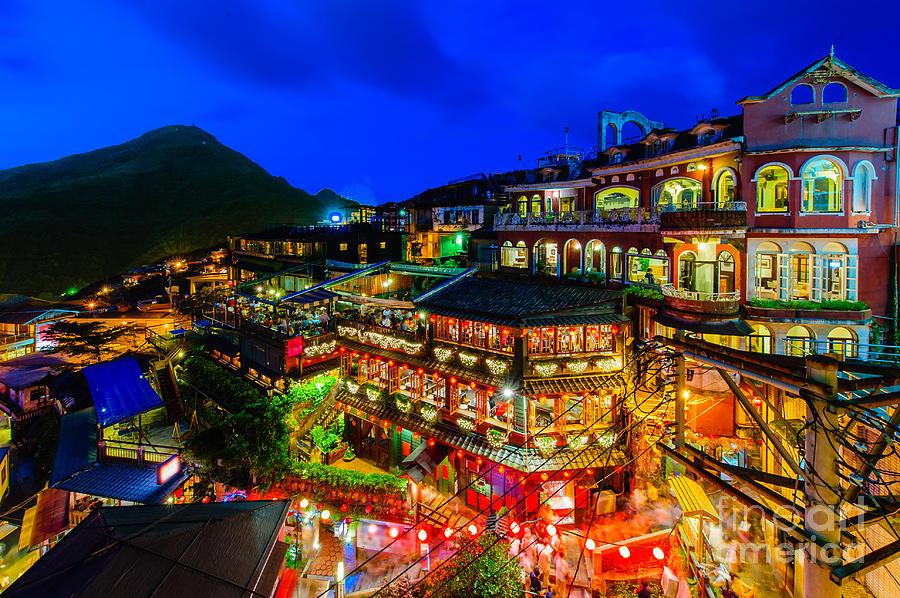 Taipei Photograph - Night Scene Of Jioufen Village Taipei by Richie Chan