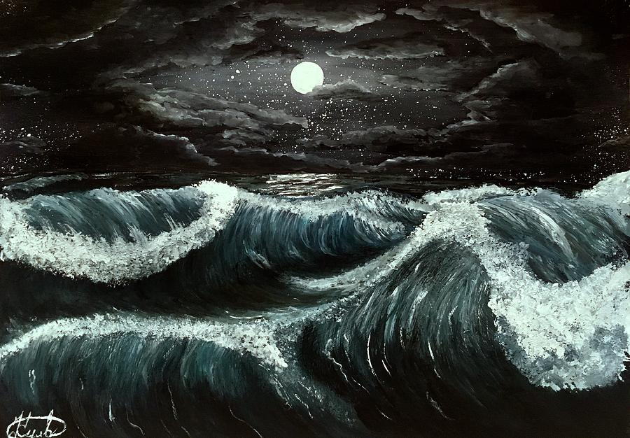 Night Photograph - Night Sea by Valentine Kulakov