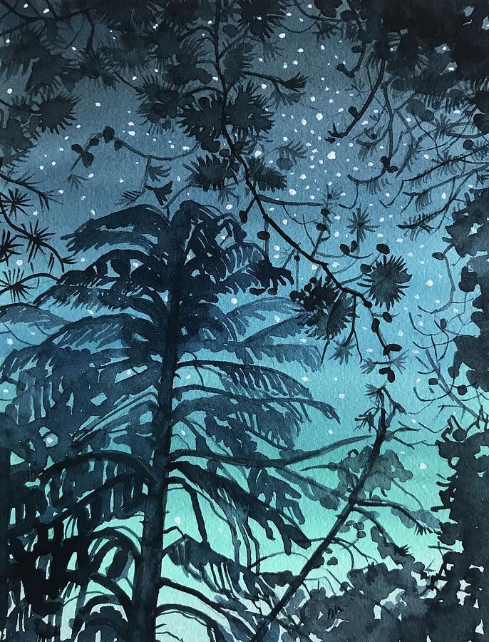 Night Sky Lake Vista Painting