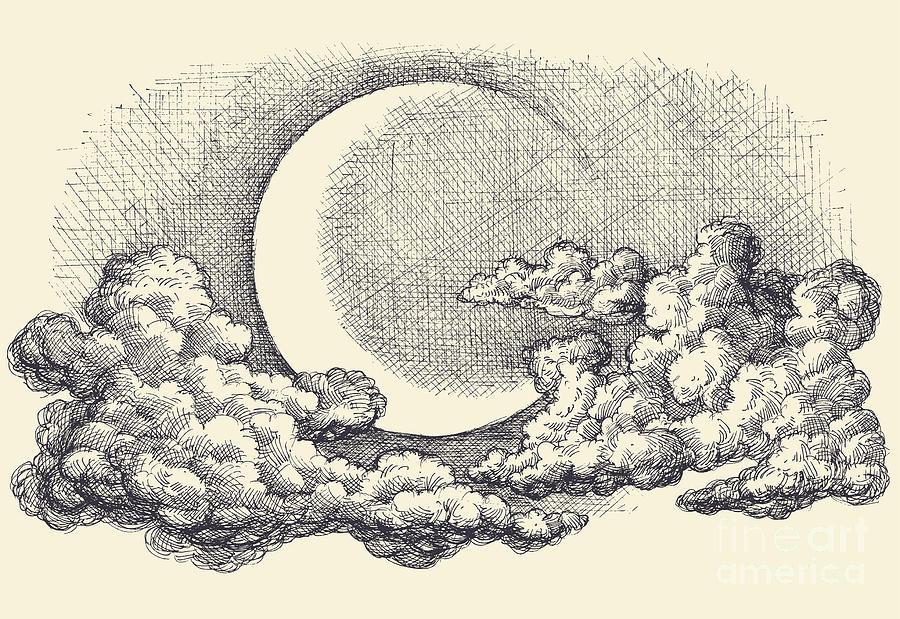Engraving Digital Art - Night Sky Vector Moon In The Clouds by Danussa