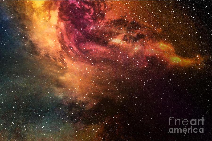 Big Digital Art - Night Sky With Stars And Nebula by Sumroeng Chinnapan