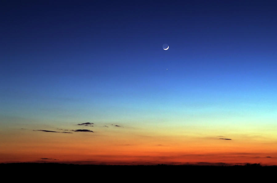 Night Skyline With Moon In The Distance Photograph by Lisavalder
