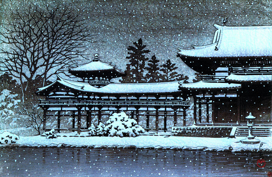 Ukiyoe Painting - Night Snow In The Houodo - Digital Remastered Edition by Kawase Hasui