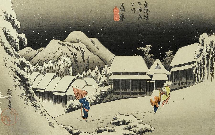 Night Snow, Kambara Painting by New Digital Museum