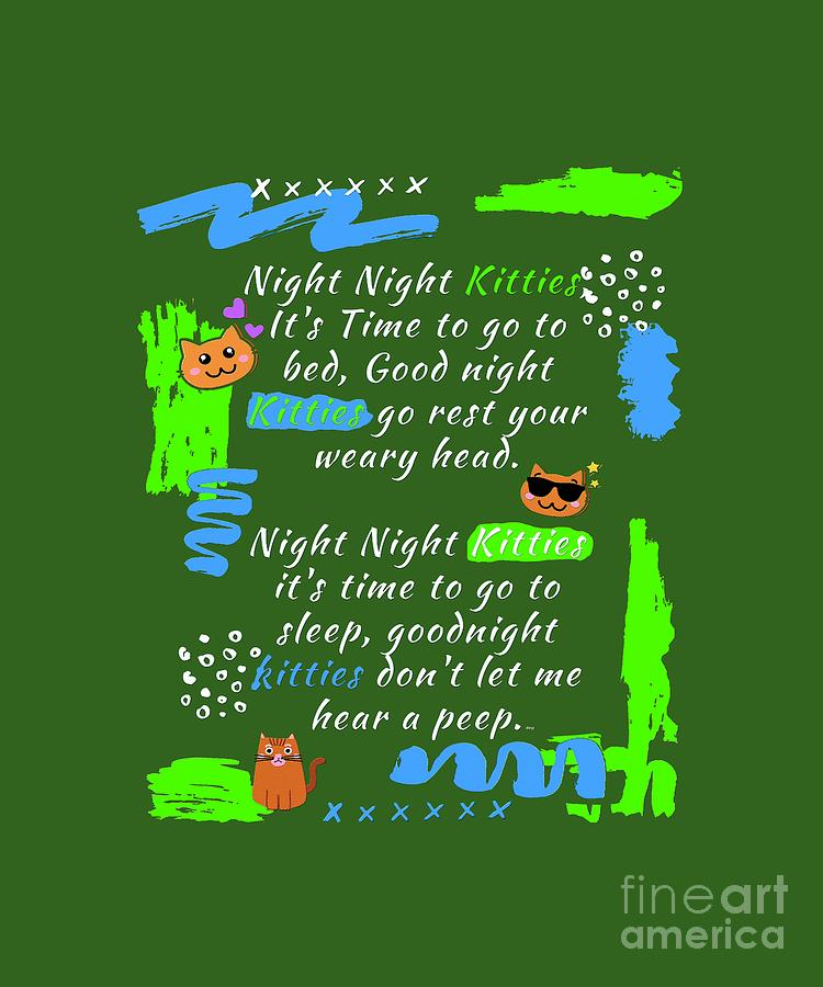 Night Time for Kitty Cats Mixed Media by PurrVeyor Com