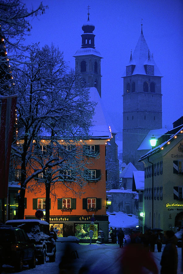 Night Time In Kitzbuhel, Austria Photograph by Walter Bibikow