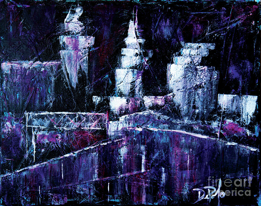 Purple Painting - Night Town Cle by JoAnn DePolo