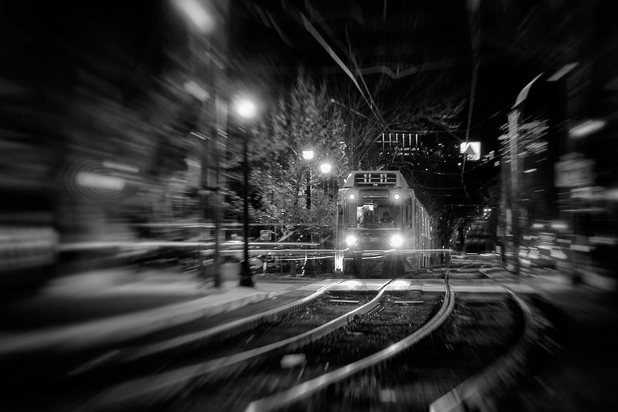 Night Train - Boston T Stop by Joann Vitali