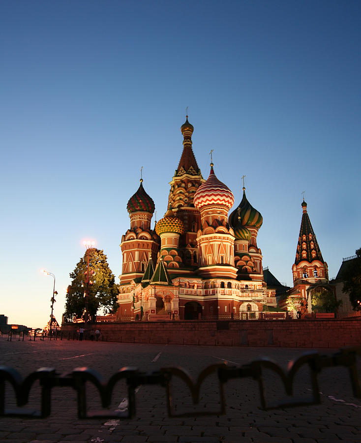Night View At St. Basil Cathedral Photograph by Zzoom