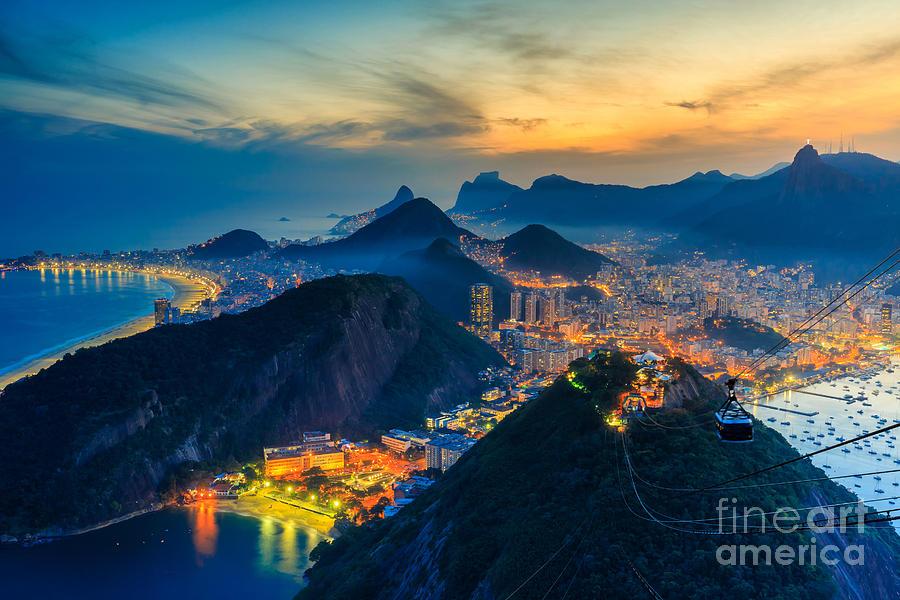 De Photograph - Night View Of Copacabana Beach, Urca by F11photo