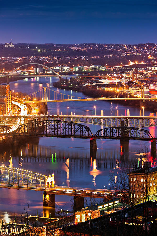 Night View Of River And Bridges Photograph by Bob Stefko