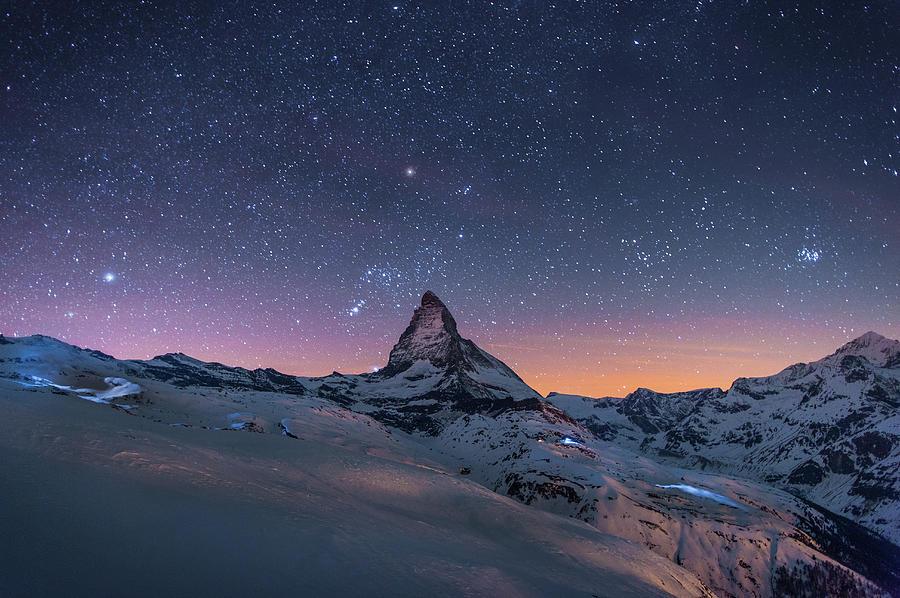Night Winter Landscape Of Matterhorn Photograph by Coolbiere Photograph