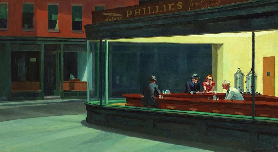 Edward Hopper Painting - Nighthawks, Circa 1942  by Edward Hopper