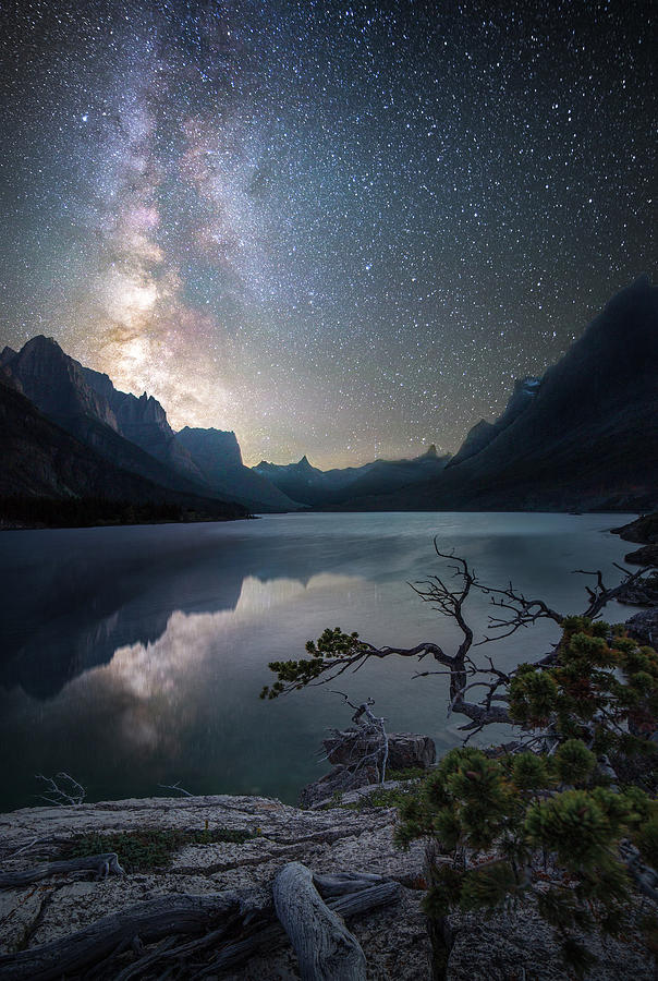 Nightly Splendor / St. Mary Lake, Glacier National Park  by Nicholas Parker