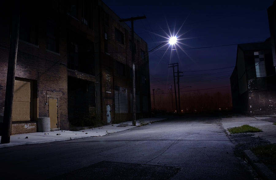 Nighttime View Of An Empty Side Street Photograph by Amayfoto