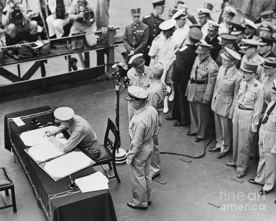 Nimitz Signing Treaty With Japan Photograph by Bettmann