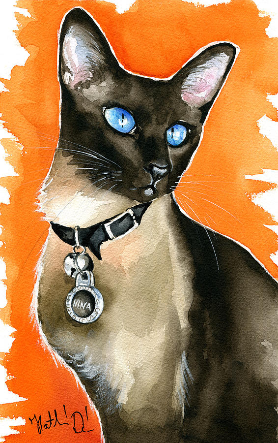 Siamese Painting - Nina Siamese Cat Painting by Dora Hathazi Mendes