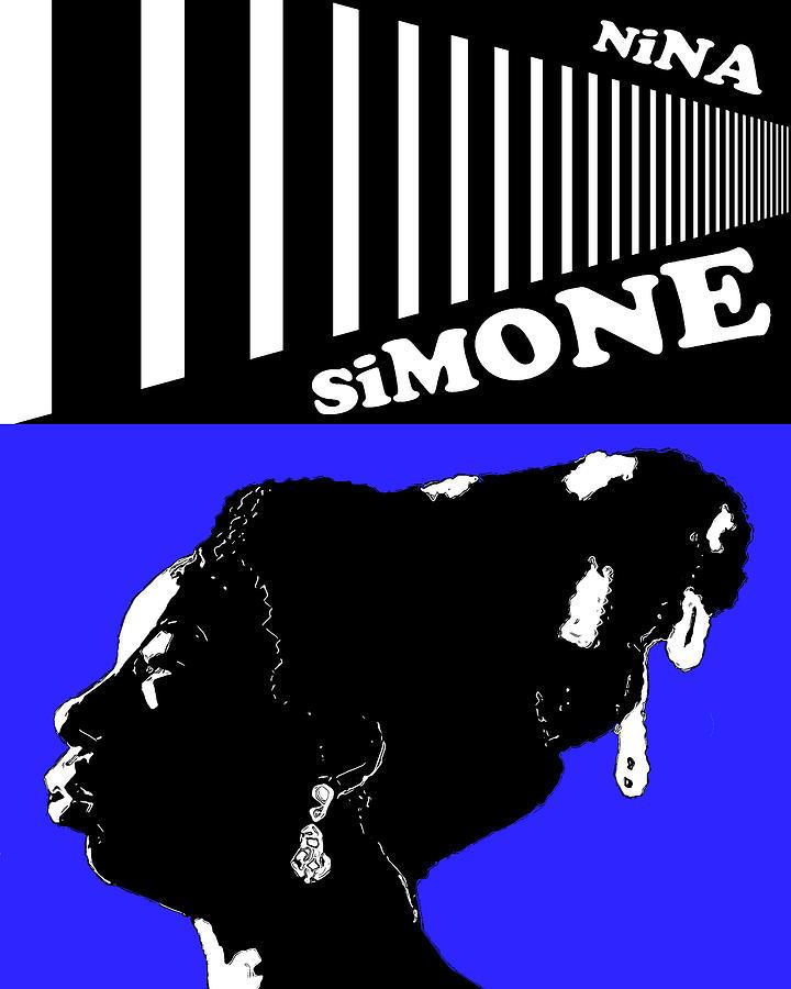 Nina Simone Digital Art - Nina Simone Blue by Regina Wyatt