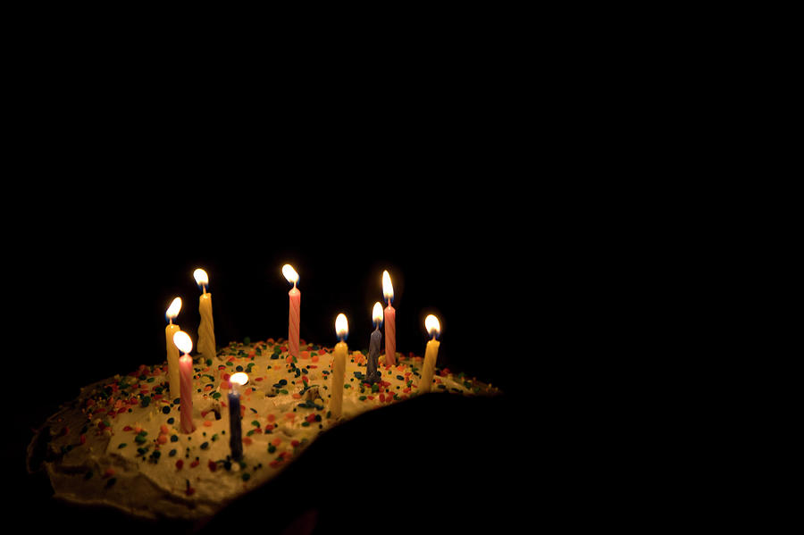 Wondrous Nine Candles On A Birthday Cake In The Photograph By Bklyngrl Funny Birthday Cards Online Alyptdamsfinfo