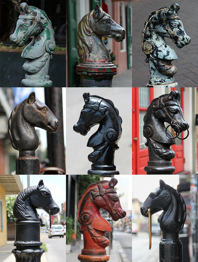 Nine Horse Head Hitching Posts by Debi Dalio