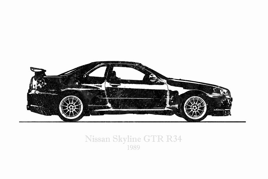 R34 Digital Art - Nissan Skyline Gt-r R34 1989 Black And White Illustration by JESP Art and Decor