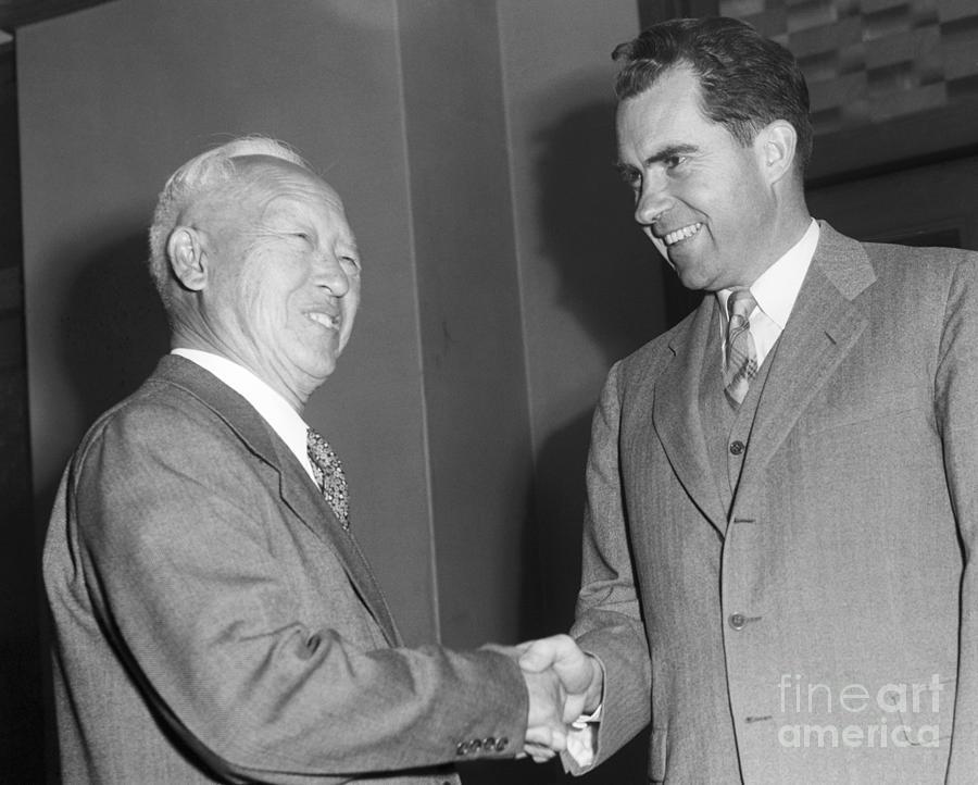 Nixon Meets Syngman Rhee In Capital Photograph by Bettmann
