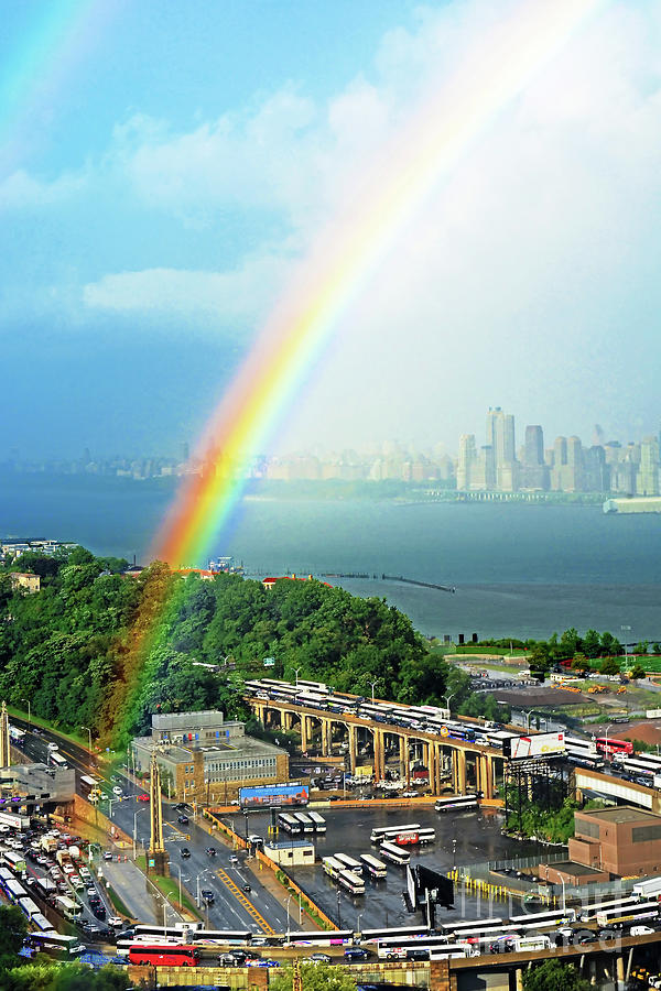 Rainbow Photograph - Nj-hudson River Rainbows End by Regina Geoghan