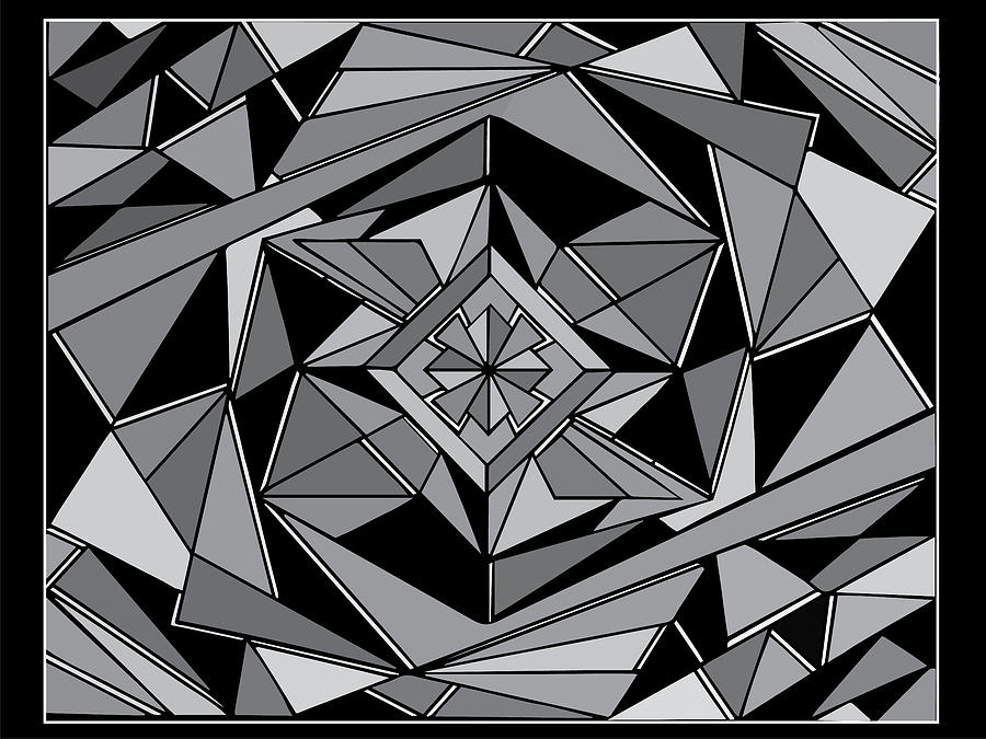 No Escape Abstract Geometric Black White Gray