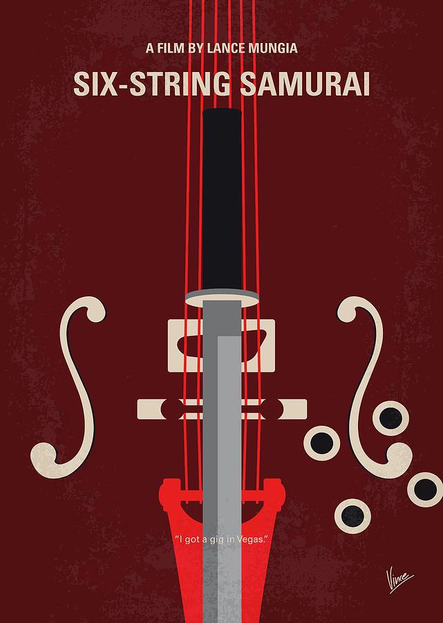 Six Digital Art - No1020 My Six-string Samurai Minimal Movie Poster by Chungkong Art