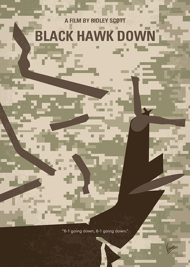 No1076 My Black Hawk Down minimal movie poster by Chungkong Art